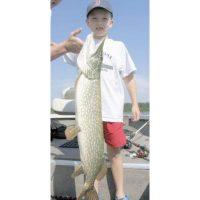 Giant Pike caught on a spoonplug for the kid! He was assisted by his father a little bit.