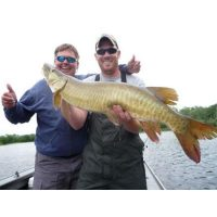 Josh and Jerky Jack Link with one of five Muskies they caught