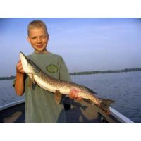 Nice pike for the kid caught on a spoonplug