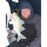 Blue Ribbon pro staffer, Kevin Keiwel, shows off his winter time white bass