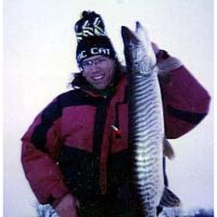 Tom with another nice ice fishing musky
