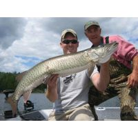 Josh and Larry with a nice Vermillion Musky they caught during Josh\'s bachelor party in 09\'